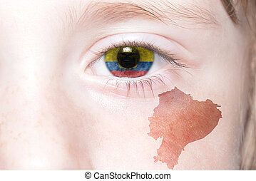 human's face with national flag and map of ecuador.