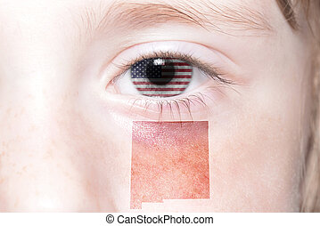 human's face with national flag of united states of america and new mexico state map