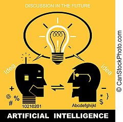 humaoid, communication, artificial intelligence, artificial intelligence, synergical communication, Effective communication between robot/humanoid and human. head icon on yellow background