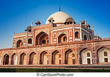 Humayuns Tomb on blue sky, New Delhi, India