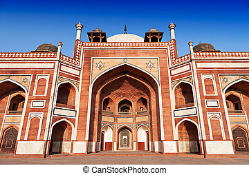 Humayuns Tomb on the blue sky, Delhi, India
