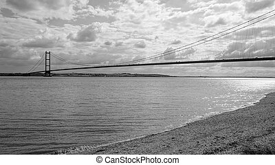 Humber Bridge with beach in foreground