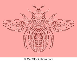 Humble-bee color drawing vector illustration. Tattoo...
