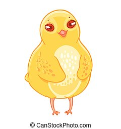 Humble funny cartoon chicken smiling. Vector illustration...