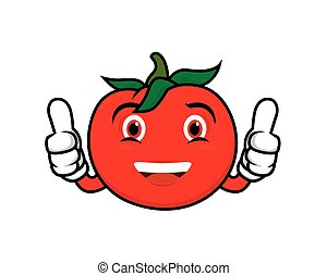 Humbly and Friendly Tomato Recommending Gesture Vector