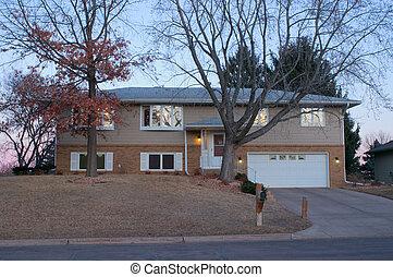 Private residence of Joe Ferrer on Humboldt Avenue at dusk in West Saint Paul Minnesota