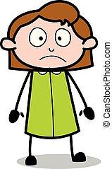 humeur, bureau, -, triste, vecteur, illustration?, retro, employé, girl, dessin animé