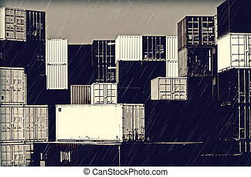 humeur, port, -, pluie, sombre, pile, récipients