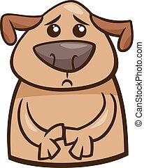 humeur, triste, dessin animé, illustration, chien