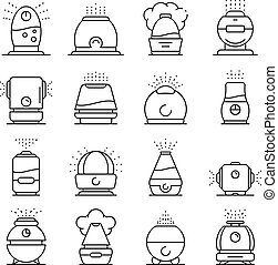 Humidifier icons set, outline style - Humidifier icons set....