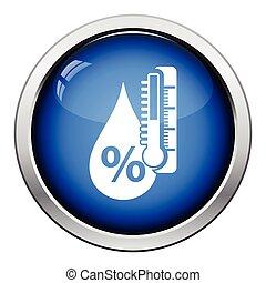 Humidity icon. Glossy button design. Vector illustration.