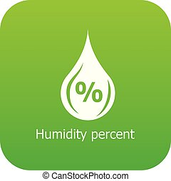 Humidity percent icon green vector
