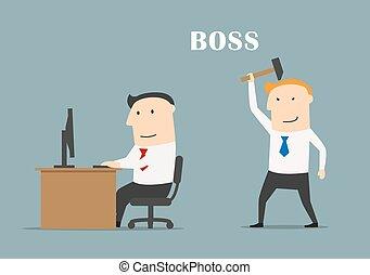 hummer, golpe, oficinista, ejecutivo, jefe, listo