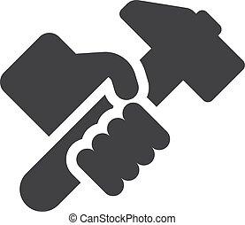 hummer, illustration, main, arrière-plan., vecteur, noir, blanc, icône