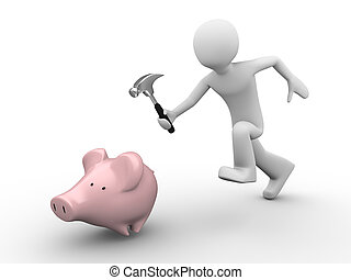 hummer, piggybank, efter, besparingar, hand, spring, fånga, ...