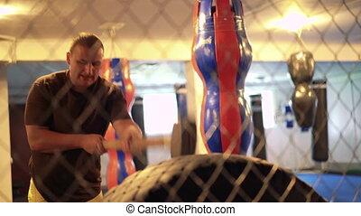 hummer, pneu, gym., boxeur, 4k, cage, exercice
