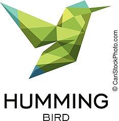 Hummig bird geometrical sign, calibri abstract polygonal vector logo template. Origami green color low poly wild animal icon.