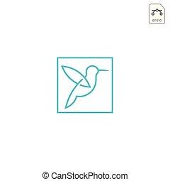 humming bird logo design vector icon element isolated