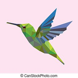 Humming bird low polygon - Humming bird flying with triangle...