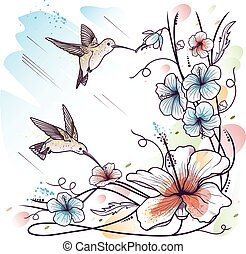 Humming-birds and tropical flowers on a sky background