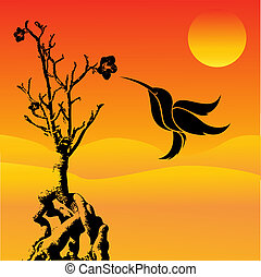 humming, pássaro voador