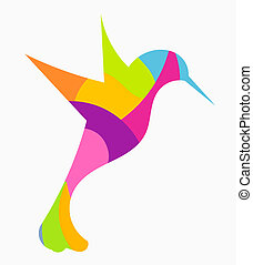 Hummingbird - Abstract colorful hummingbird - vector ...