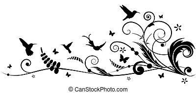 hummingbird and batterflies - vector design element with...
