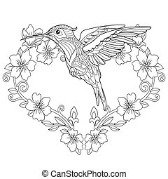 hummingbird and flower heart coloring page coloring book page anti stress colouring picture with vector clipart csp