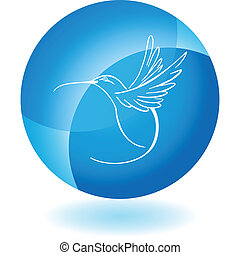 Hummingbird web button isolated on a background