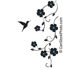 Hummingbird - vector floral card with hummingbird