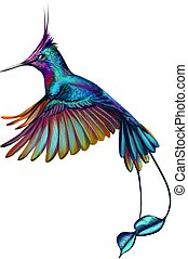 Hummingbird from a splash of watercolor, hand drawn sketch