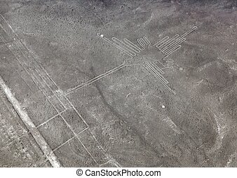 Hummingbird geoglyph black and white colored, Nazca mysterious lines and geoglyphs aerial view, landmark in Nasca, Peru