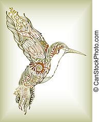 Illustration of abstract design hummingbird.