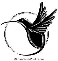Hummingbird - An image of a black hummingbird.