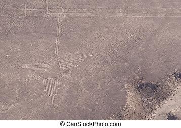 Figure hummingbird in Nazca lines