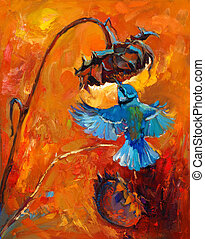 Original oil painting of hummingbird or kolibri and sunflower on canvas. Rich golden Sunset. Modern Impressionism