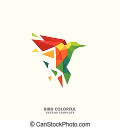 Hummingbird Polygon color full Concept illustration vector Design template