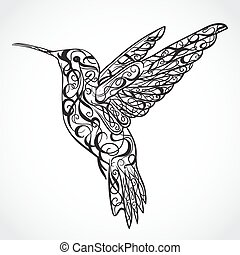 hummingbird., tatuaje, art.