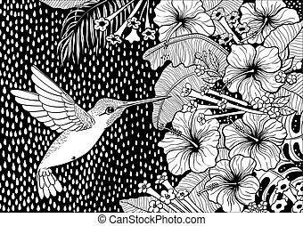 Hummingbird, tropical plants and flowers