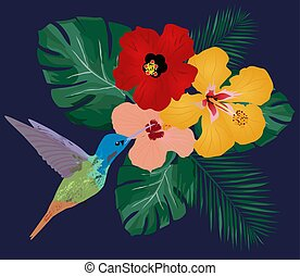 Hummingbird - vector hummingbird floral background