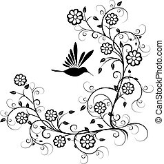 Hummingbird with flowers vector