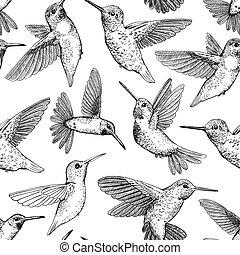 Hummingbirds vector pattern