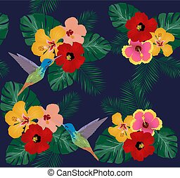 Hummingbirds - vector tropical background with birds