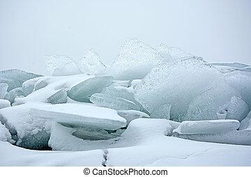 Hummock on the frozen sea shore at winter season