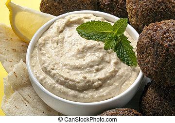 Hummus and Falafel - Delicious chick-pea hummus with falafel...