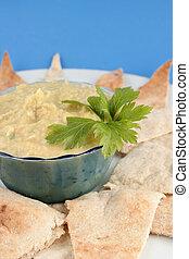 hummus and pita - fresh hummus and cut up whole wheat pita...