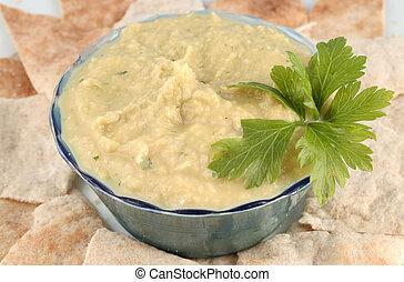 hummus and pita - fresh hummus and cut up whole wheat pita ...