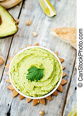 hummus, avocado