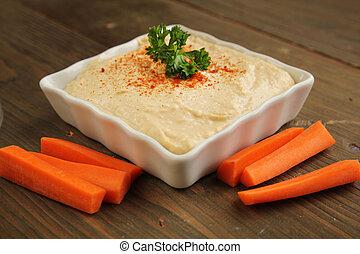 hummus, com, cenouras