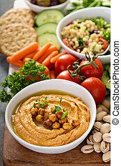 hummus, e, legumes, platter, com, grão, salada